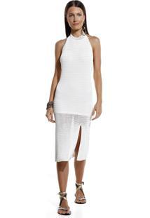 Vestido Bobô Zebra Midi Tricot Off White Feminino (Off White, M)