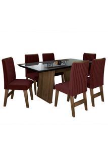 Conjunto De Mesa Para Sala De Jantar Com Tampo De Vidro E 6 Cadeiras Vigo -Dobuê Movelaria - Castanho / Preto / Vinho Bord