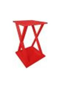 "Mesa ""X"" Lateral De Apoio Ou Mesa De Cabeceira - Vermelho Laca"