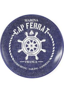 Prato De Sobremesa De Cerâmica Marina Maison Blanche Azul Escuro 20Cm - 28280
