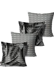 Kit Com 4 Capas Pump Up Para Almofadas Decorativas Folhas Estilo Abstrato Preto E Branco 45X45Cm