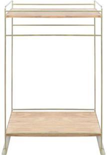 Prateleira Com Suporte Para Toalha- Dourada- 95X61,5Decor Glass