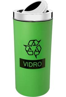LixeiraSeletiva Verde Para Vidro 9L Com Tampa 3102003 Brinox