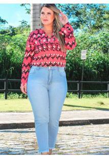 Calça Cropped Almaria Plus Size Fact Jeans Desfiad