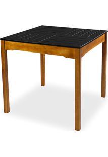 Mesa De Jantar Compacta De Madeira Maciça Taeda Natural Com Tampo Colorido Olga - Verniz Nozes/Preto 80X80X75Cm