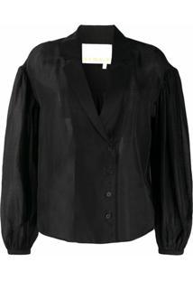 Remain Blusa Translúcida Com Botões - Preto