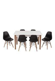 Conjunto Mesa De Jantar Luiza 135Cm Branca Com 6 Cadeiras Eames Eiffel - Preto