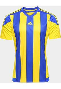 Camisa Adidas Striped 15 Masculina - Masculino-Amarelo+Azul