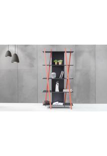 Estante Divisória Para Sala Preta Moderna 5 Prateleiras Com Pés De Madeira Cor Vermelha Sue 90X38X180 Cm
