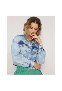 Jaqueta Jeans Feminina Cropped Marmorizada Com Bolsos Manga Bufante Azul Claro