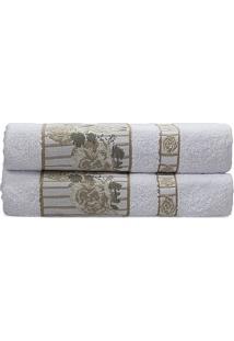Toalha De Rosto Claris- Branca & Bege- 45X70Cm- Camesa