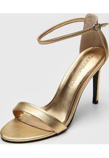 Sandã¡Lia Loucos E Santos Metalizada Dourada - Dourado - Feminino - Couro - Dafiti