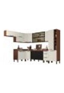 Cozinha Modulada Completa 14 Peças Viv Concept C10 Nogueira/Off White/Black - Kit´S Paraná