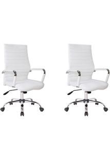 Conjunto Com 2 Cadeiras De Escritório Diretor Giratórias Cleaner Branco