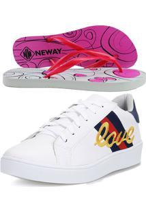 Tênis Dhl Calçados Casual Neway Florense Feminino Listras Love + 1 Chinelo Neway Branco