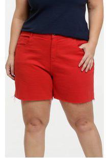 Bermuda Feminina Sarja Plus Size Barra Desfiada Marisa