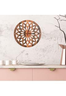 Relógio De Parede Decorativo Premium Mandala Vazado Amadeirado Médio
