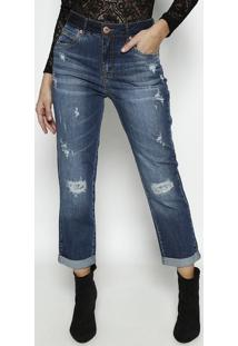 Jeans Lolita Cropped Com PuãDos- Azul Escuro- Forumforum