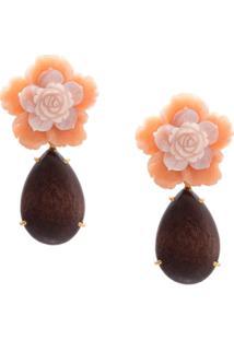 Bounkit Jewelry Par De Brincos Floral Clip On - Marrom
