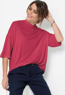 Blusa Oversized Gola Alta Rosa