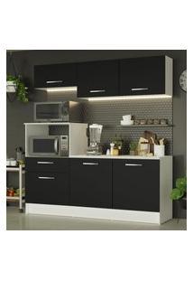 Cozinha Compacta Madesa Onix 180001 Com Armário E Balcáo - Branco/Preto Branco