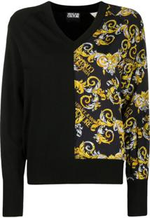 Versace Jeans Couture Cardigan Com Estampa Barroca - Preto
