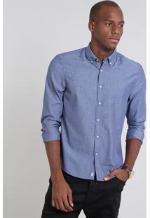 Camisa Masculina Comfort Listrada Manga Longa Azul Escuro
