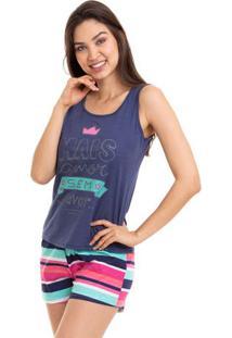 Pijama Short Doll Regata Feminino Com Algodão Luna Cuore