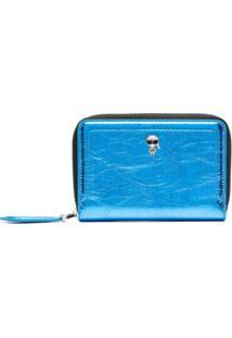 Karl Lagerfeld Carteira De Couro Com Zíper - Azul