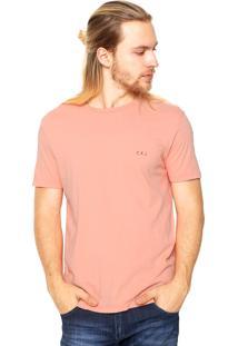 Camiseta Calvin Klein Jeans Reta Coral
