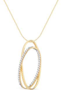 Pingente Ouro Amarelo E Diamantes 30 Mm