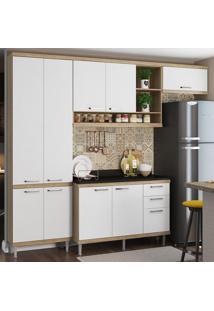 Cozinha Compacta 9 Portas 3 Gavetas Sicília Com Tampo 5841 Branco/Argila - Multimóveis