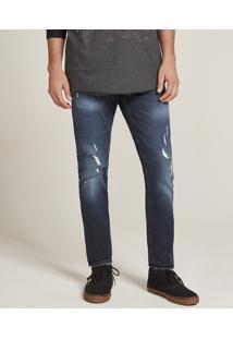 Calça Jeans Masculina Slim Com Rasgos Azul Escuro