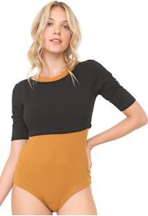Body My Favorite Thing(S) Com Blusa Canelado Amarelo/Preto