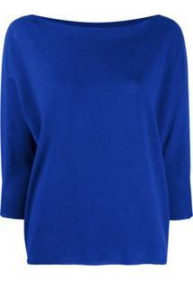 Zanone Suéter Com Decote Canoa - Azul