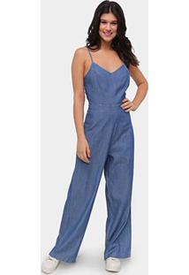 Macacão Jeans Influencer Longo Alcinha Feminino - Feminino-Azul