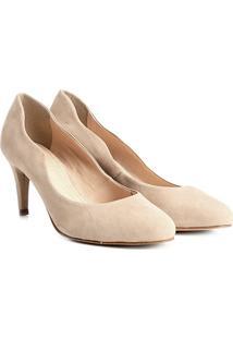 Scarpin Couro Shoestock Salto Médio Ondas - Feminino-Nude