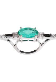 Anel Soco Inglês The Ring Boutique Pedra Cristal Turmalina Fusion Ródio Ouro Branco