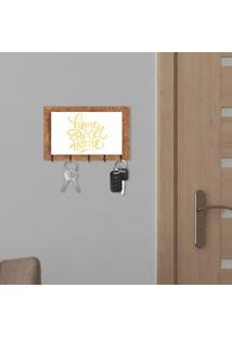 Porta Chaves E Cartas Home Sweet Home Corten E Branco Com Relevo Espelhado Dourado Único