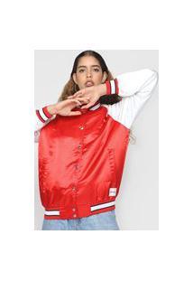 Jaqueta Bomber Calvin Klein Jeans Raglan Vermelha