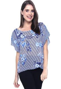 Blusa 101 Resort Wear Tunica Careca Estampada Listra Flor