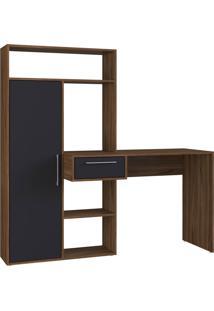 Escrivaninha Modern Office 1 Porta 1 Gaveta 4 Nichos Preto E Estilare Móveis