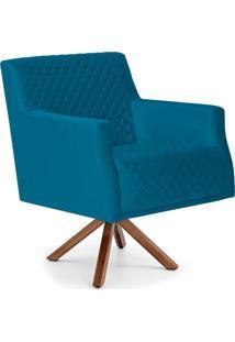 Poltrona Decorativa Para Sala De Estar Diva D02 Tressê Veludo Liso Azul Cobalto B-170 - Lyam Decor