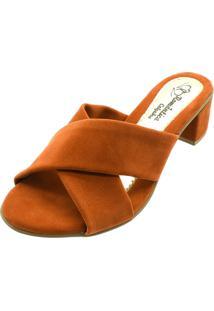 Sandália Romântica Calçados Tamanco Tiras Cruzada Caramelo - Kanui