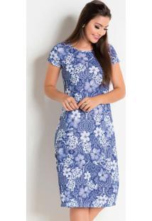 Vestido Com Gola Redonda Floral Azul