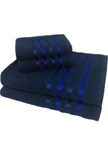 Jogo De Toalha 4 Peã§As Kit De Toalhas 2 Banho 2 Rosto Jogo De Banho Azul - Azul - Dafiti