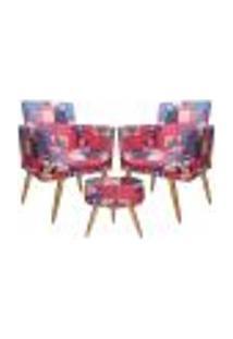 Conjunto 2 Poltronas Decorativas Com Rodapé E Puff Redondo Nina Patchwork