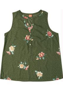Blusa Verde Musgo Floral Com Botões