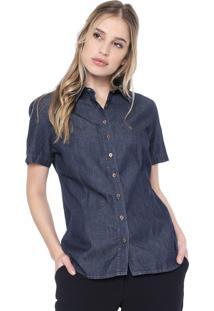 Camisa Jeans Dudalina Essentials Azul-Marinho