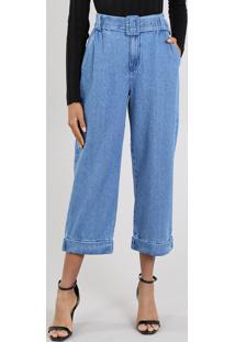 c761f4676 ... Calça Jeans Feminina Mindset Reta Cropped Com Cinto Azul Médio